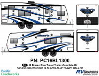 Blaze'n - 2016 Blaze'n TT-Travel Trailer Blue Version - 28 Piece 2016 Blaze'n Blue Travel Trailer Complete Graphics Kit