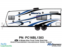 Blaze'n - 2016 Blaze'n TT-Travel Trailer Blue Version - 12 Piece 2016 Blaze'n Blue Travel Trailer Roadside Graphics Kit