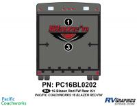Blaze'n - 2016 Blaze'n FW-Fifth Wheel Red Version - 2 Piece 2016 Blaze'n Red Fifth Wheel Rear Graphics Kit