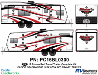 Blaze'n - 2016 Blaze'n TT-Travel Trailer Red Version - 28 Piece 2016 Blaze'n Red Travel Trailer Complete Graphics Kit