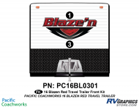 Blaze'n - 2016 Blaze'n TT-Travel Trailer Red Version - 2 Piece 2016 Blaze'n Red Travel Trailer Front Graphics Kit
