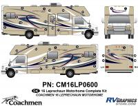Leprechaun - 2016 Leprechaun MH-Motorhome Blue on Tan - 48 Piece 2016 Leprechaun Class C Complete Graphics Kit