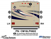 Leprechaun - 2016 Leprechaun MH-Motorhome Blue on Tan - 6 Piece 2016 Leprechaun Class C Rear Graphics Kit