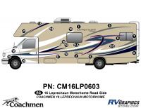 Leprechaun - 2016 Leprechaun MH-Motorhome Blue on Tan - 20 Piece 2016 Leprechaun Class C Roadside Graphics Kit