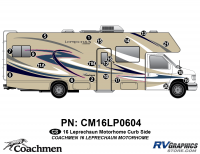 Leprechaun - 2016 Leprechaun MH-Motorhome Blue on Tan - 20 Piece 2016 Leprechaun Class C Curbside Graphics Kit