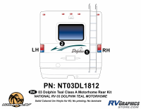 2003 Dolphin Teal Economy Rear Graphics Kit