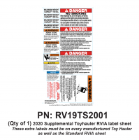 RV Labels - Supplemental RV Toy Hauler Sheet - 1 Toyhauler  Label Sheet