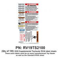 RV Labels - Supplemental RV Toy Hauler Sheet - 100 Pack Toyhauler label sheet