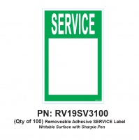RV Labels - RV Service Label - 100 Pack of SERVICE label