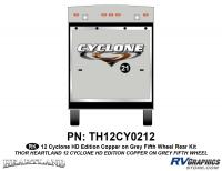 Cyclone - 2012 Cyclone FW-Fifth Wheel Toyhauler-Copper - 1 Piece 2012 Cyclone FW Rear Graphics Kit Copper/Gray  Version
