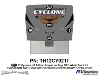 Cyclone - 2012 Cyclone FW-Fifth Wheel Toyhauler-Copper - 5 Piece 2012 Cyclone FW Front Graphics Kit Copper/Gray  Version
