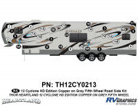 Cyclone - 2012 Cyclone FW-Fifth Wheel Toyhauler-Copper - 29 Piece 2012 Cyclone FW Roadside Graphics Kit Copper/Gray  Version