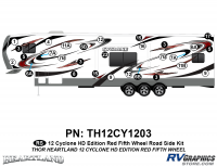 Cyclone - 2012 Cyclone FW-Fifth Wheel Toyhauler-Red - 29 Piece 2012 Cyclone FW Roadside Graphics Kit Red Version