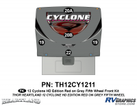5 Piece 2012 Cyclone FW Front Graphics Kit Red/Gray  Version
