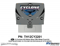 5 Piece 2012 Cyclone FW Front Graphics Kit Blue Version
