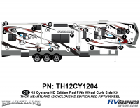 Cyclone - 2012 Cyclone FW-Fifth Wheel Toyhauler-Red - 29 Piece 2012 Cyclone FW Curbside Graphics Kit Red Version