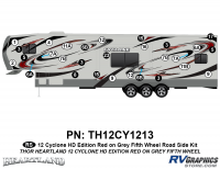 Cyclone - 2012 Cyclone FW-Fifth Wheel Toyhauler-Red - 29 Piece 2012 Cyclone FW Roadside Graphics Kit Red/Gray  Version