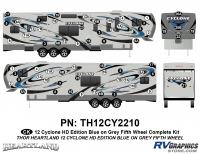 Cyclone - 2012 Cyclone FW-Fifth Wheel Toyhauler-Blue - 64 Piece 2012 Cyclone FW Complete Graphics Kit Blue/Gray Version