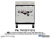 1 Piece 2012 Cyclone FW Rear Graphics Kit Red/Gray  Version