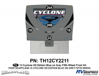 5 Piece 2012 Cyclone FW Front Graphics Kit Blue/Gray  Version