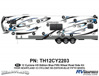 Cyclone - 2012 Cyclone FW-Fifth Wheel Toyhauler-Blue - 29 Piece 2012 Cyclone FW Roadside Graphics Kit Blue Version