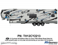 Cyclone - 2012 Cyclone FW-Fifth Wheel Toyhauler-Blue - 29 Piece 2012 Cyclone FW Roadside Graphics Kit Blue/Gray  Version