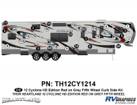Cyclone - 2012 Cyclone FW-Fifth Wheel Toyhauler-Red - 29 Piece 2012 Cyclone FW Curbside Graphics Kit Red/Gray  Version
