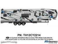 Cyclone - 2012 Cyclone FW-Fifth Wheel Toyhauler-Blue - 29 Piece 2012 Cyclone FW Curbside Graphics Kit Blue/Gray  Version