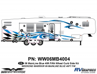 Weekend Warrior Mainline - 2006-2007 Weekend Warrior Mainline FW-40' Fifth Wheel Blue - 12 piece 2006 Warrior Mainline 40' FW Curbside Graphics Kit