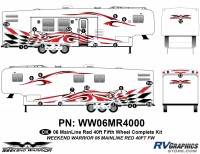 27 piece 2006 Warrior Mainline 40' FW Complete Graphics Kit