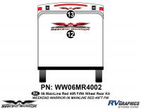2 piece 2006 Warrior Mainline Red 40' FW Rear Graphics Kit