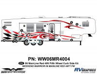 Weekend Warrior Mainline - 2006-2007 Weekend Warrior Mainline FW-40' Fifth Wheel Red - 12 piece 2006 Warrior Mainline Red 40' FW Curbside Graphics Kit
