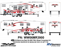 23 piece 2006 Warrior Mainline 35-39' FW Complete Graphics Kit