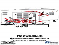 Weekend Warrior Mainline - 2006-2007 Weekend Warrior Mainline FW-35-39' Fifth Wheel Red - 10 piece 2006 Warrior Mainline Red 35-39' FW Curbside Graphics Kit