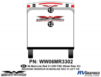 Weekend Warrior Mainline - 2006-2007 Weekend Warrior Mainline FW 31-33' Fifth Wheel Red - 2 piece 2006 Warrior Mainline Red 31-33' FW Rear Graphics Kit