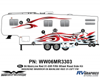 Weekend Warrior Mainline - 2006-2007 Weekend Warrior Mainline FW 31-33' Fifth Wheel Red - 8 piece 2006 Warrior Mainline Red 31-33' FW Roadside Graphics Kit