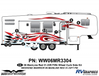 Weekend Warrior Mainline - 2006-2007 Weekend Warrior Mainline FW 31-33' Fifth Wheel Red - 8 piece 2006 Warrior Mainline Red 31-33' FW Curbside Graphics Kit