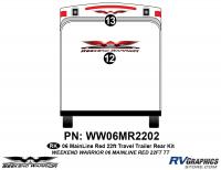 Weekend Warrior Mainline - 2006-2007 Weekend Warrior Mainline TT 22' Travel Trailer Red - 2 piece 2006 Warrior Mainline Red 26-30' TT Rear Graphics Kit