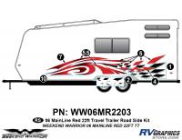 Weekend Warrior Mainline - 2006-2007 Weekend Warrior Mainline TT 22' Travel Trailer Red - 6 piece 2006 Warrior Mainline Red 26-30' TT Roadside Graphics Kit