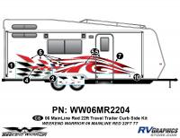 Weekend Warrior Mainline - 2006-2007 Weekend Warrior Mainline TT 22' Travel Trailer Red - 6 piece 2006 Warrior Mainline Red 26-30' TT Curbside Graphics Kit