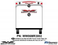 2 piece 2006 Warrior Mainline Red 26-30' TT Rear Graphics Kit
