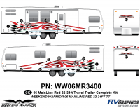 19 piece 2006 Warrior Mainline 32-34' TT Complete Graphics Kit