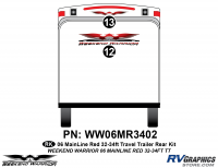 Weekend Warrior Mainline - 2006-2007 Weekend Warrior Mainline TT-32-34' Travel Trailer Red - 2 piece 2006 Warrior Mainline 32-34' TT Red Rear Graphics Kit