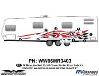 Weekend Warrior Mainline - 2006-2007 Weekend Warrior Mainline TT-32-34' Travel Trailer Red - 8 piece 2006 Warrior Mainline 32-34' TT Red Roadside Graphics Kit