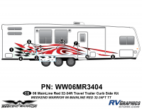 Weekend Warrior Mainline - 2006-2007 Weekend Warrior Mainline TT-32-34' Travel Trailer Red - 8 piece 2006 Warrior Mainline 32-34' TT Red Curbside Graphics Kit