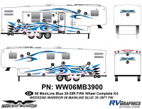 Weekend Warrior Mainline - 2006-2007 Weekend Warrior Mainline FW-35-39' Fifth Wheel Blue - 23 piece 2006 Warrior Mainline 35-39' FW Complete Graphics Kit