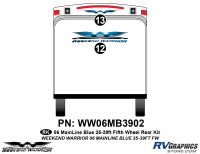 Weekend Warrior Mainline - 2006-2007 Weekend Warrior Mainline FW-35-39' Fifth Wheel Blue - 2 piece 2006 Warrior Mainline 35-39' FW Rear Graphics Kit