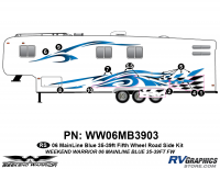 Weekend Warrior Mainline - 2006-2007 Weekend Warrior Mainline FW-35-39' Fifth Wheel Blue - 10 piece 2006 Warrior Mainline 35-39' FW Roadside Graphics Kit