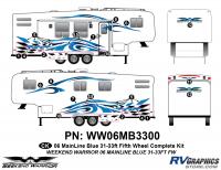 Weekend Warrior Mainline - 2006-2007 Weekend Warrior Mainline FW 31-33' Fifth Wheel Blue - 19 piece 2006 Warrior Mainline 31-33' FW Complete Graphics Kit