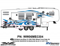 Weekend Warrior Mainline - 2006-2007 Weekend Warrior Mainline FW 31-33' Fifth Wheel Blue - 8 piece 2006 Warrior Mainline 31-33' FW Curbside Graphics Kit